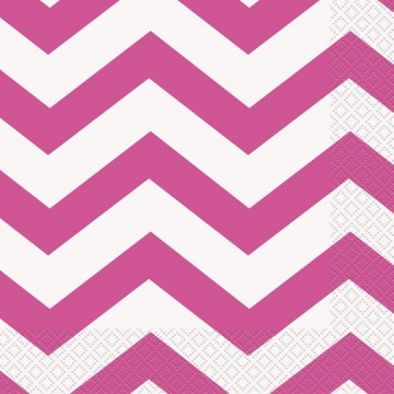 Hot pink chevron servietter - 16 stk.