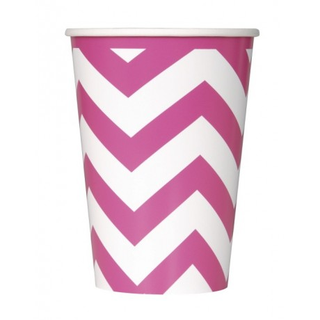 Hot pink chevron krus - 6 stk.