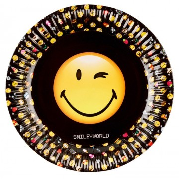 Sort Smiley Emoticons tallerkner - 8 stk.