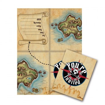 Pirates map invitationer