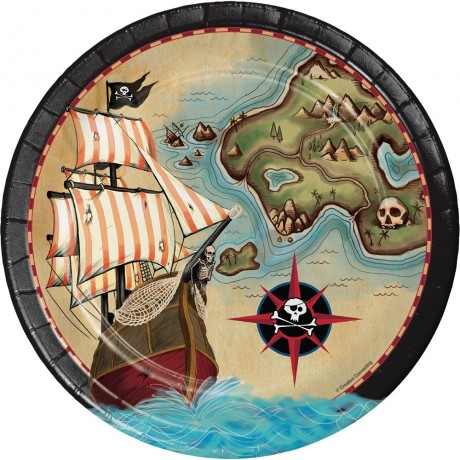 Pirates map paptallerkner