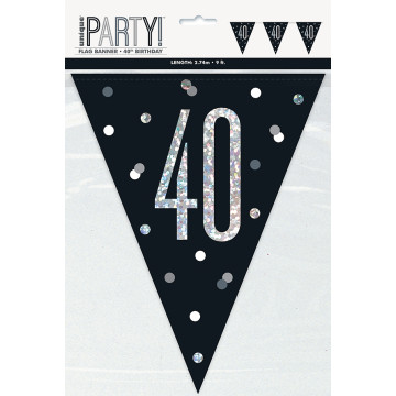 40 års sort flagbanner
